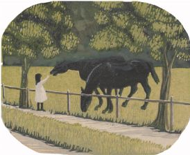 wood-engraving original print: Child Feeding Ponies